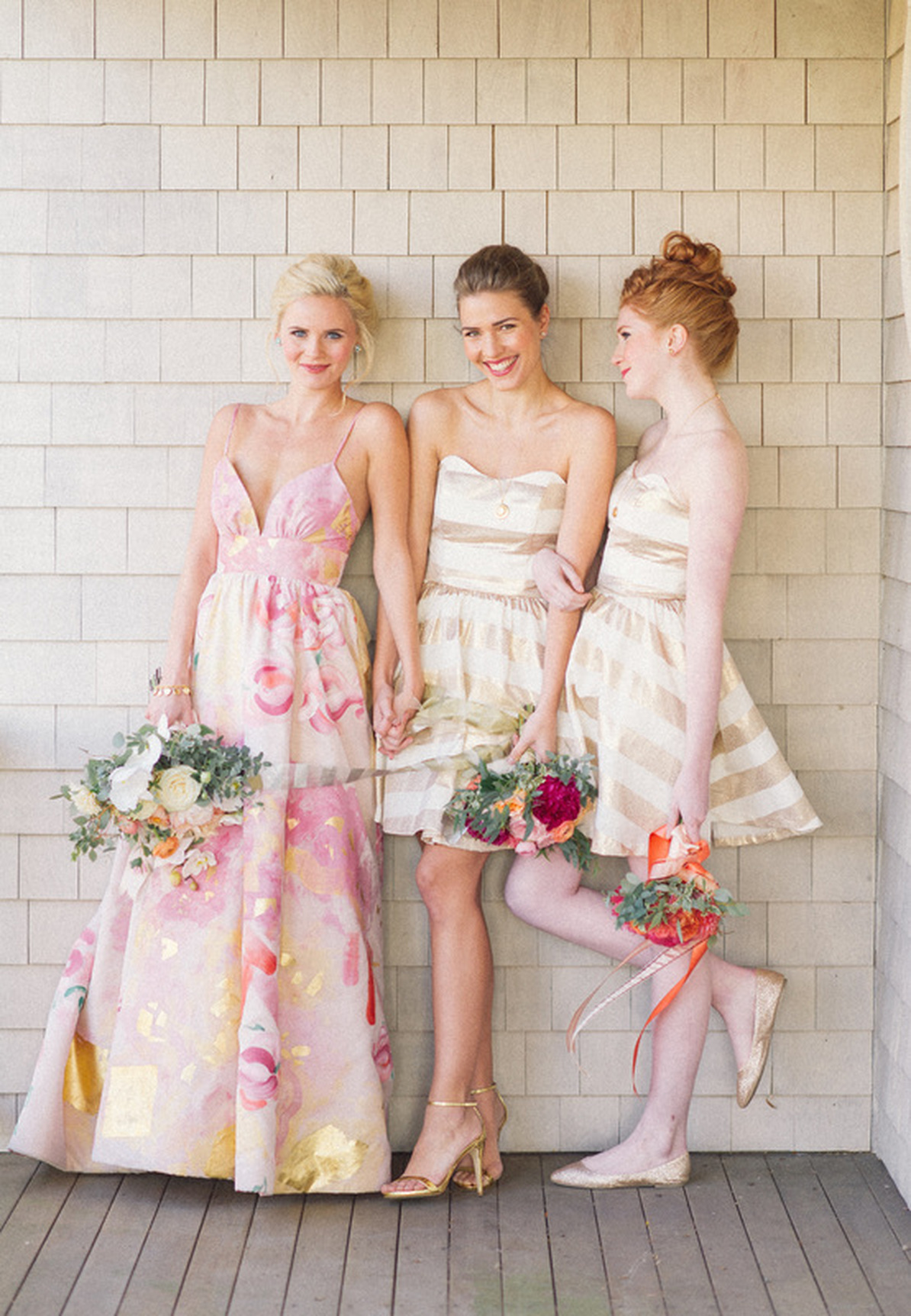 Floral Wedding Dress and Striped Bridesmaid Dresses